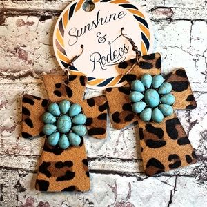 Squash Blossom Cross Leopard Earrings